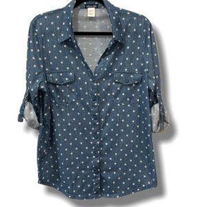 Olivia Blu Blue & White Button-Up Sz. XL